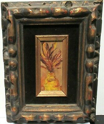 Small Oil On Board Floral In A Vase Painting Unsigned