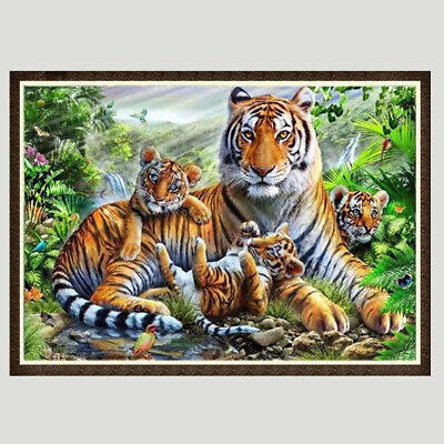 Tiger Printed Diamond Embroidery Painting Cross Stitch Craft Home Wall Decor BS