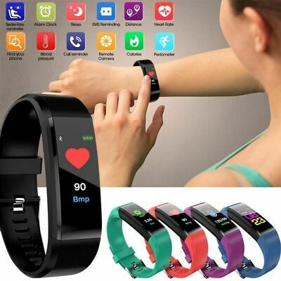 115Plus Smart Watch Wrist Wristband Bracelet Fitness Tracker Heart Rate Monitor