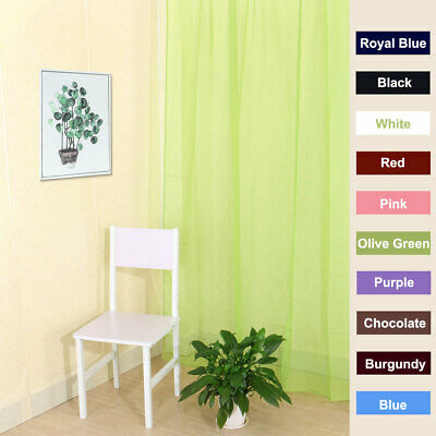 Lucy Slot Top Plain Voile Curtain Panel - 10 Colours - Net Voile Valances Tulle