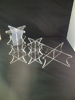 3 Tier Clear Acrylic Wedding Cake Perspex® Display Plastic Stand Set Of 3 Stands