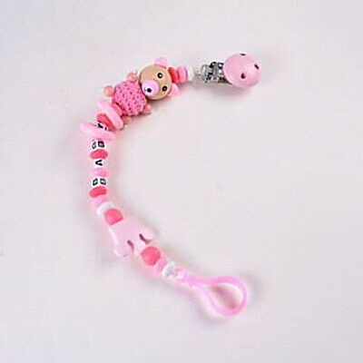 Baby Wood Pacifier Chain Soothers Letter Clip Holder Infants Feeding Product BS