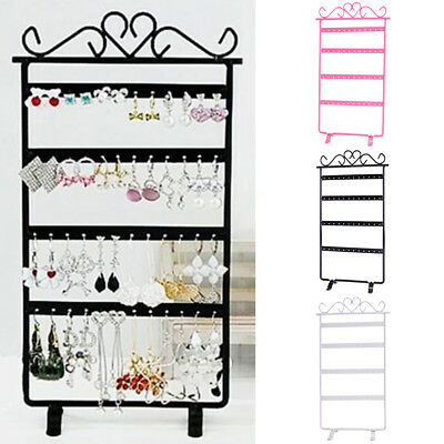 48 Holes Earring Hanging Rack Jewelry Organizer Holder Metal Display Stand Home