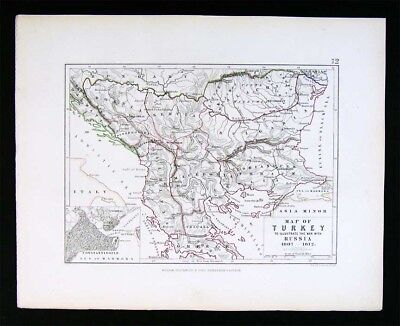 1855 Johnston Military Map Napoleon Turkey Romania Constantinople Balkans Europe