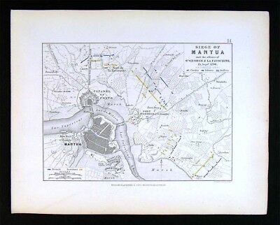 1855 Johnston Military Map - Napoleon Siege of Mantua 1796 Italy Fort St. George