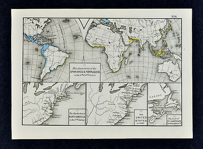 1880 Labberton Map World Discoveries Spain Portugal United States 1783 Colonies