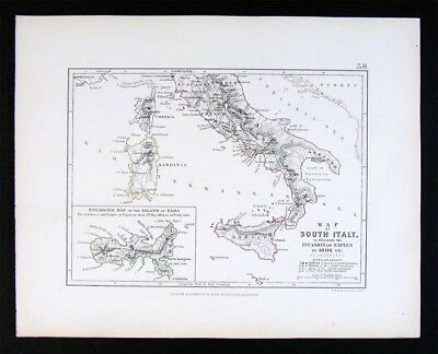 1855 Johnston Military Map - Napoleon Invasion of Naples 1806 Sicily Elba Italy