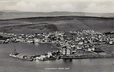 Scalloway From The East, Shetland Islands, Scotland : Real Photo Postcard (1961)