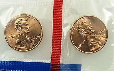 1994 P & D Uncirculated Lincoln Memorial Cent Penny Mint Cello (B02)