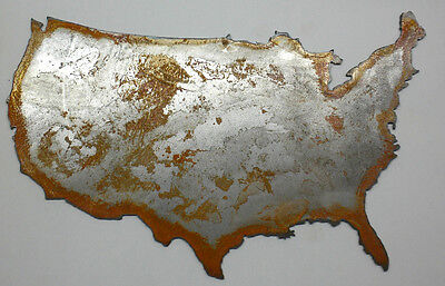 12 Inch USA Country Shape Rough Rusty Metal Vintage Stencil Ornament Craft Decor