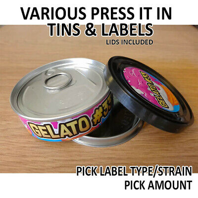 Cali Tins / Press In Tins / Tuna Cans & Stickers + Lids 100ml