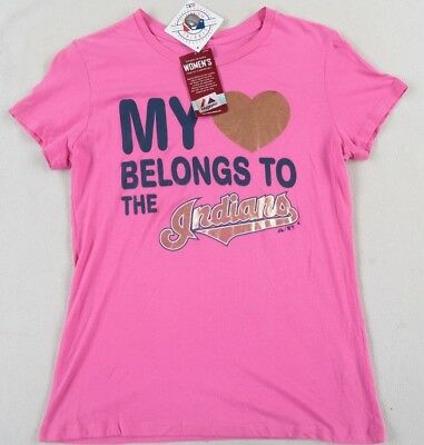 best website 43772 6178e NWT MLB CLEVELAND Indians Women's S/S Crew Neck Pink T Shirt by Majestic -  Large