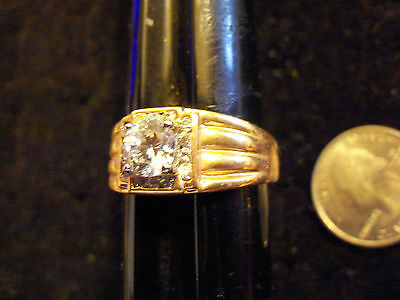 bling gold plated cubic iced show solitaire fashion ring hip hop jewelry 11.75