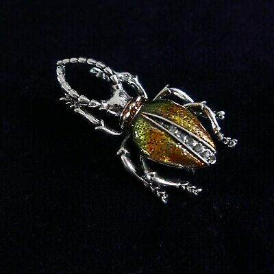 Vintage Art Deco Style Silver Tone Enamel Beetle Insect Brooch