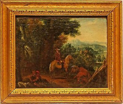 Fine Old Master European School 17/18th Cen. Oil on Panel Painting w/Horse & Dog