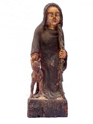 Rare Antique 15th-17th Century Italy/France Wood Carved Figure Saint Rocco w/Dog