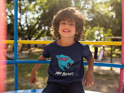 Mr Beast Blue Logo Tee KIDS Merch 3-12 Years BEAST Gift