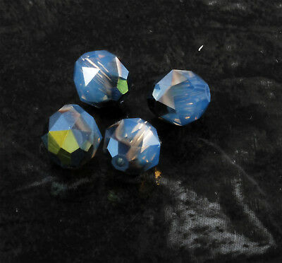 Vintage Glass Bead Lot of 4 Faceted Crystal Blue AB Drilled Through Finding DIY