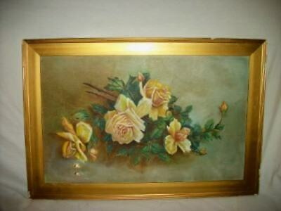 ANTIQUE VINTAGE ROSES OIL PAINTING SUNDAY 1890's Chippy Gold Frame Chic Shabby