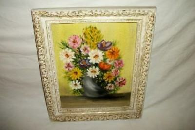 Vintage Floral Oil Painting Ornate Frame 50's Mid Century Chic Shabby Paris Apt