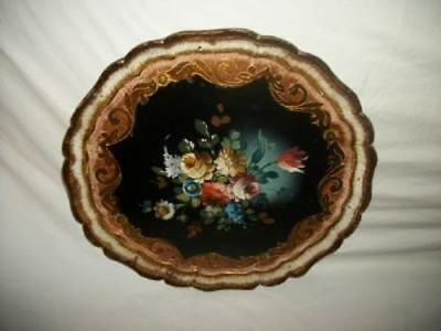 Lovely Italian Florentine Wood Round Tray HP Tole Roses Gilt Black Mid Century