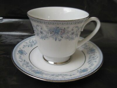 TEACUP & SAUCER SET Noritake Contemporary Blue Hill 2482 Beautiful Silver Trim