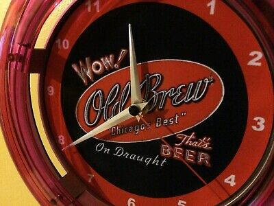 Old Brew Chicago Beer Bar Advertising Kitchen Neon Wall Clock Sign
