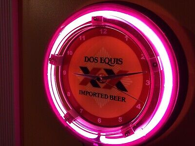 Dos Equis Cerveza Beer Bar Advertising Man Cave Neon Wall Clock Sign
