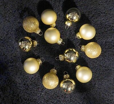 Lot Of 12 Assorted Miniature Gold Mercury Glass Feather Tree Ornaments