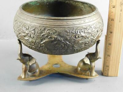 Antique Ornate Bronze/Brass Hand Engraved Insence Burner Bowl On Elephant Stand