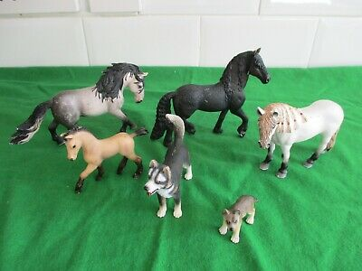 schleich horses and dog and puppy
