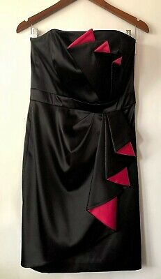 258a2f24fae9 White House Black Market Formal Dress 8 Black Pink Satin Silky Sheen Pleated