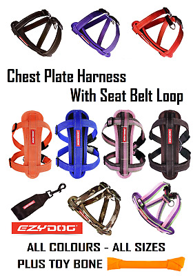 Ezydog Chest Plate Dog Harness ALL SIZES ALL COLOURS Plus Knotted Bone Toy