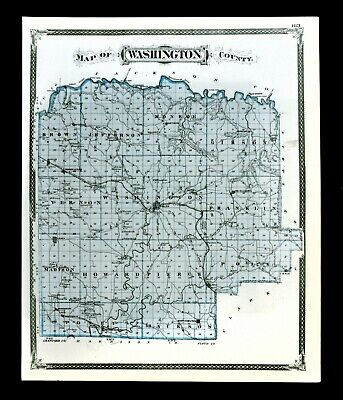 1876 Indiana Map - Washington & Scott County Lexington Scottsburg Salem Pekin IN