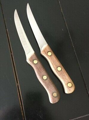 Vintage Classic Lot of 2 CHICAGO CUTLERY 103S Steak Knives Wood Handles