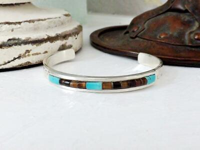 Navajo Sterling Silver Turquoise Tigers Eye Native American Cuff Bracelet