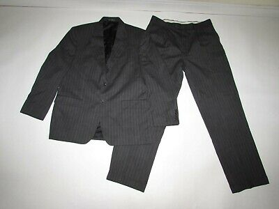 Chaps Men's 2 Button Pinstripe Suit Size 42 Regular 34 x 32 Gray Pleated Wool R