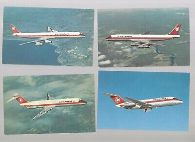 Air Canada airlines issued 60s jet fleet lot of 4 postcard