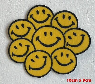 Smiley Face Iron On// Sew Patch Badge Yellow /& Black happy hippy hippie acid rave