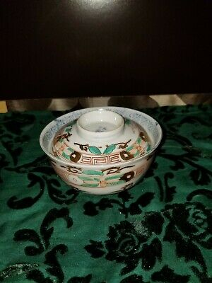 Antique Chinese Famille Rose Medallion Porcelain Tea Cup with Lid