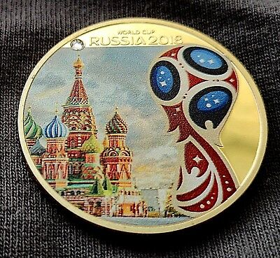 World Cup Russia 2018 Gold Coin The Kremlin Moscow Gem Stone Red White Blue Flag
