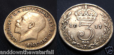 SOLID SILVER Three pence 1917 Coin Antique II Vintage British Old World War I UK