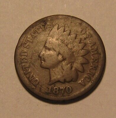 1870 Indian Head Cent Penny - Good to Very Good Condition - 35SU