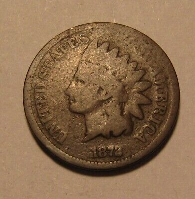 1872 Indian Head Cent Penny - About Good to Good Condition - 37SU