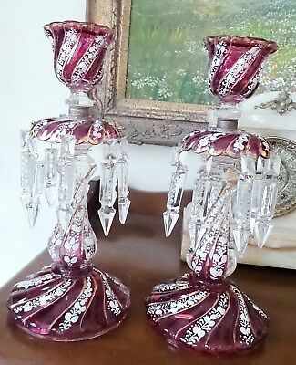 "Two Antique Cranberry Color Lustres Handpainted Enamel 4"" Double Crystals"