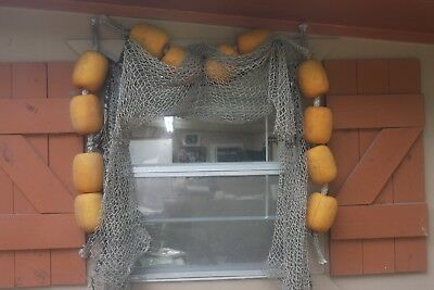(3) Seafood Restaurant Weathered Fishing Net Decor Authentic Heavy Netting, 3 pc