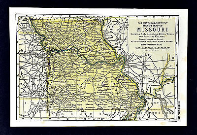 1900 Mathews-Northrup Handy Map of Missouri - St. Louis Jefferson City Columbia