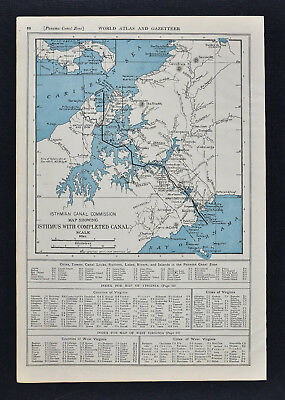 1917 Collier's Atlas Map - Panama Canal - Balboa Cristobal Colon Central America