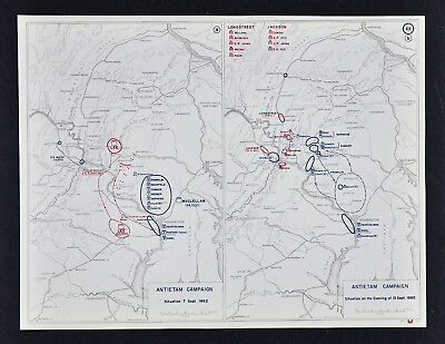 West Point Civil War Map - Antietam Campaign - Harpers Ferry Washington Stewart