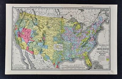 1900 McNally Map United States of America Population Census Indian Territory OK